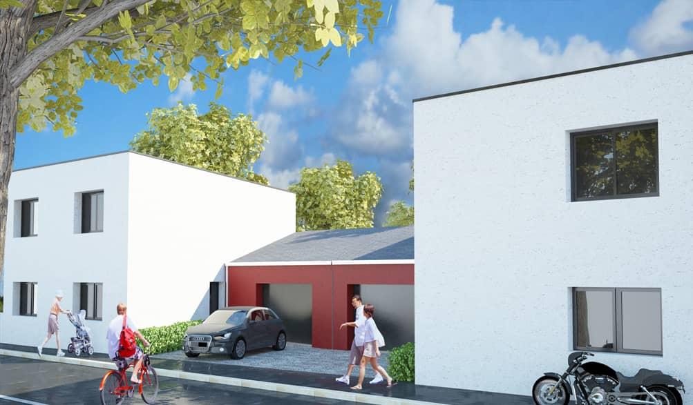 maisons jumelles rue jean huss 44100 nantes - Maisons individuelles RT2012 pour un promoteur à Nantes (44)
