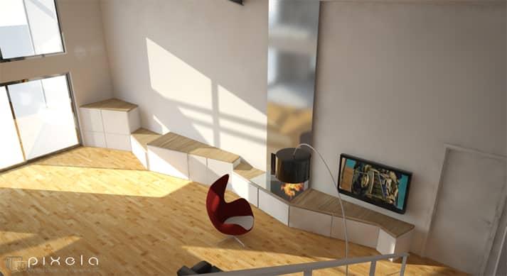 essai3 - Design de mobiliers en 3D pour un loft à Chavagne, proche de Rennes (35)