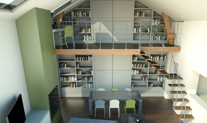 vue 3d suce sur erdre 1 - Infographie 3D d'une rénovation intérieure dans une maison individuelle à Sucé Sur Erdre (44)