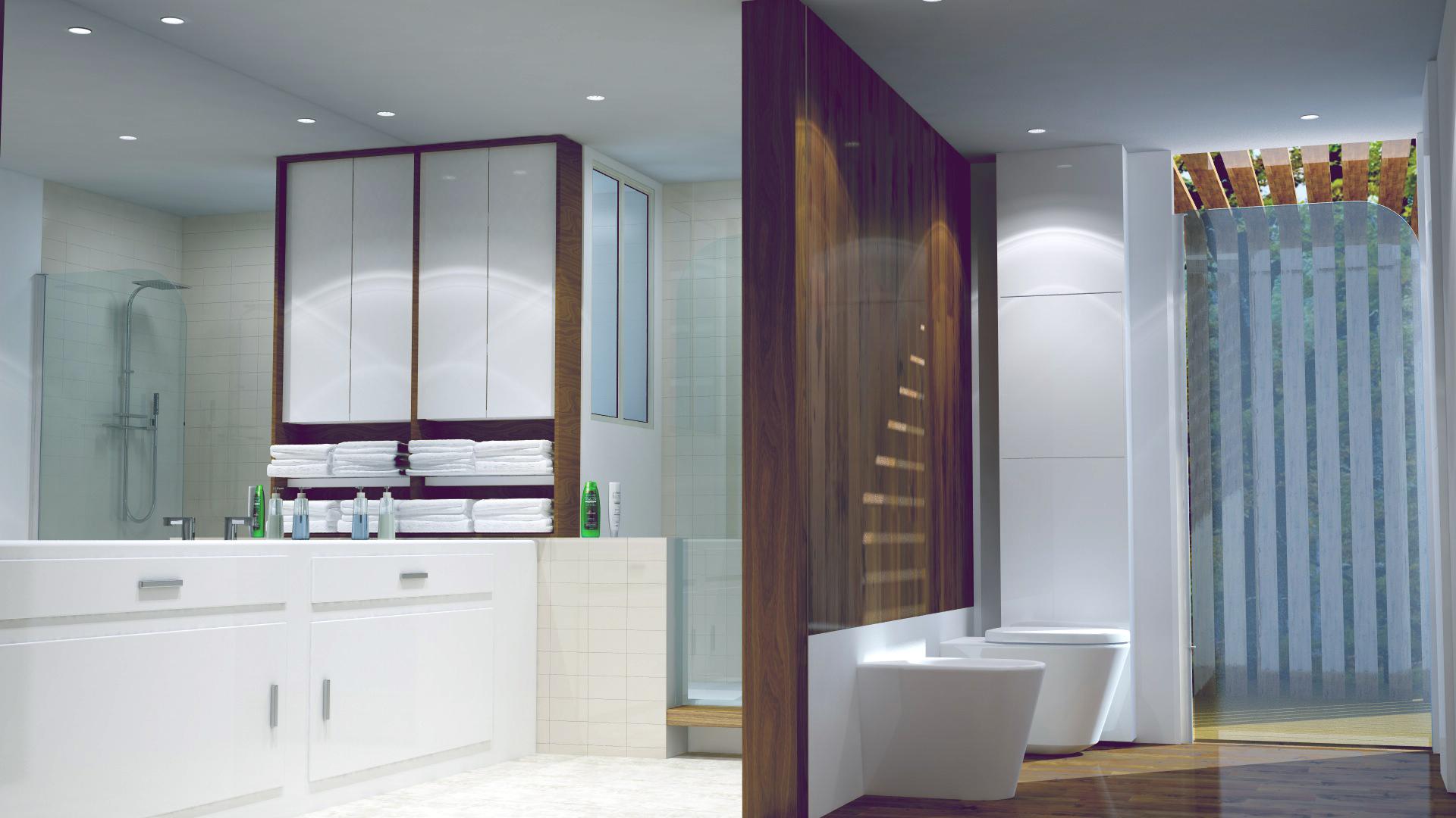salle d eau architecture interieur - Réalisation d'une salle d'eau dans une maison à Nantes