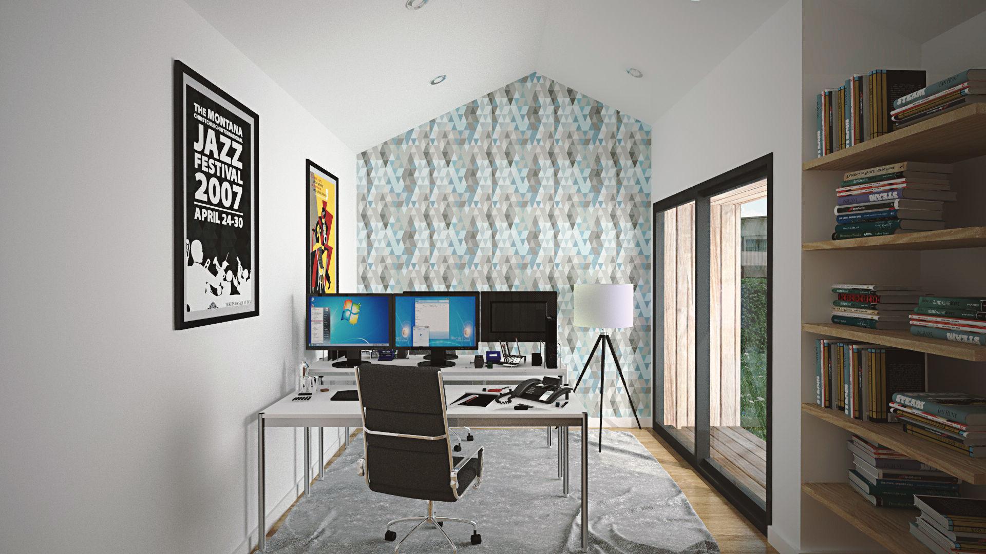 Vue 3D intérieure bureau de jardin