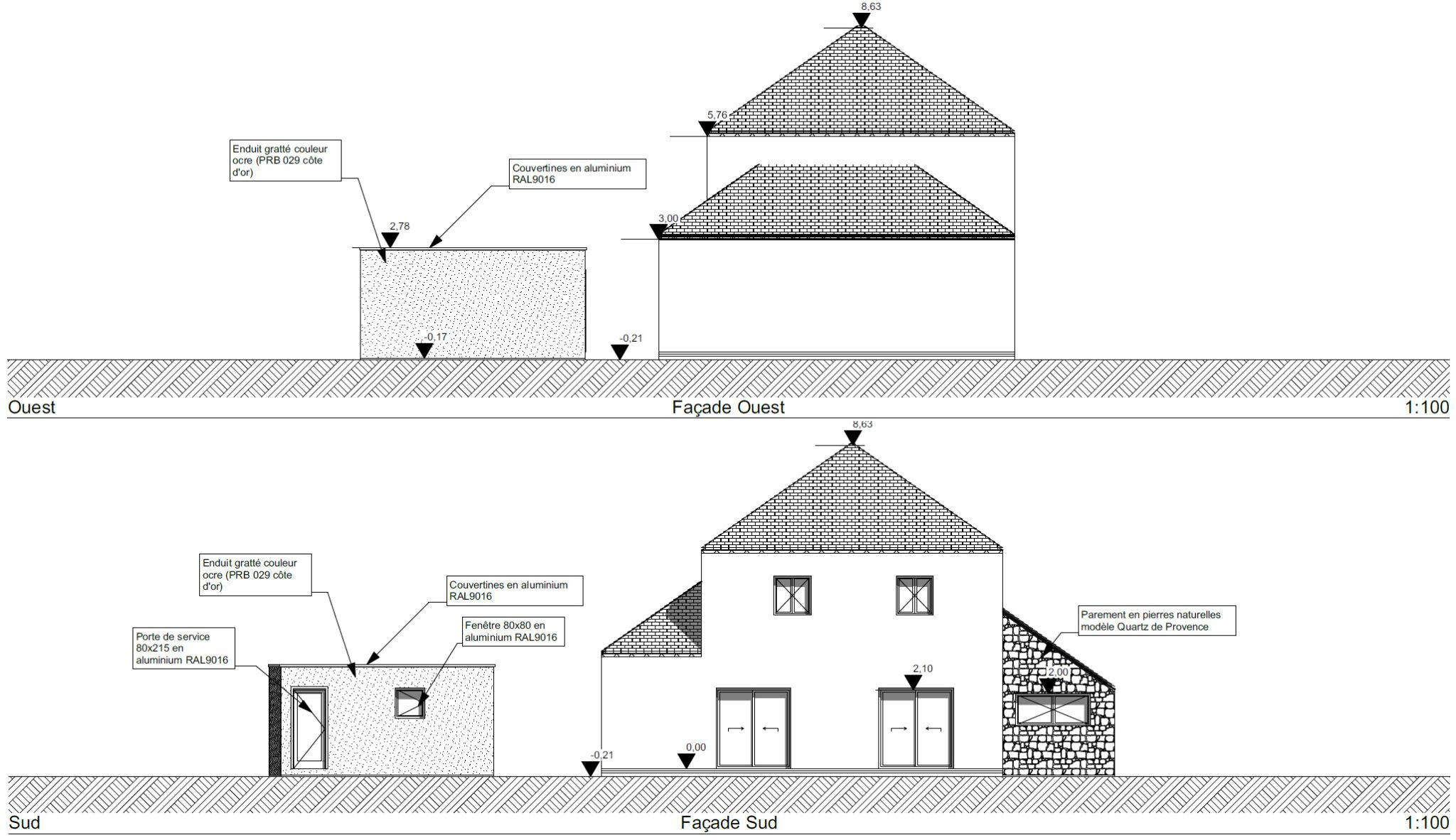 Permis garage Ligné 44 façade2 - Réalisation d'un garage à Ligné (44)