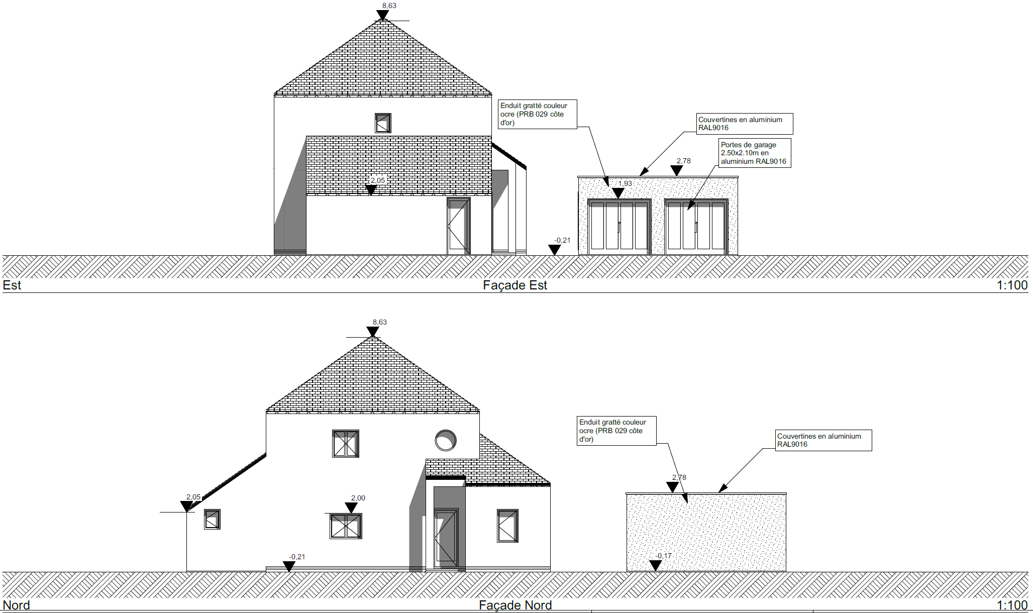 facades garage ligne 44 - Réalisation d'un garage à Ligné (44)