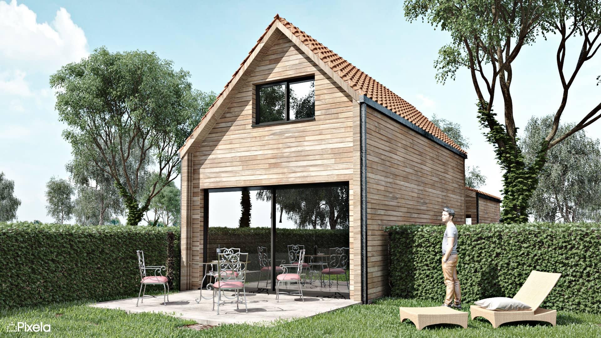 maison ossature bois clisson 44 - Perspectives 3D maison individuelle à Clisson (44)
