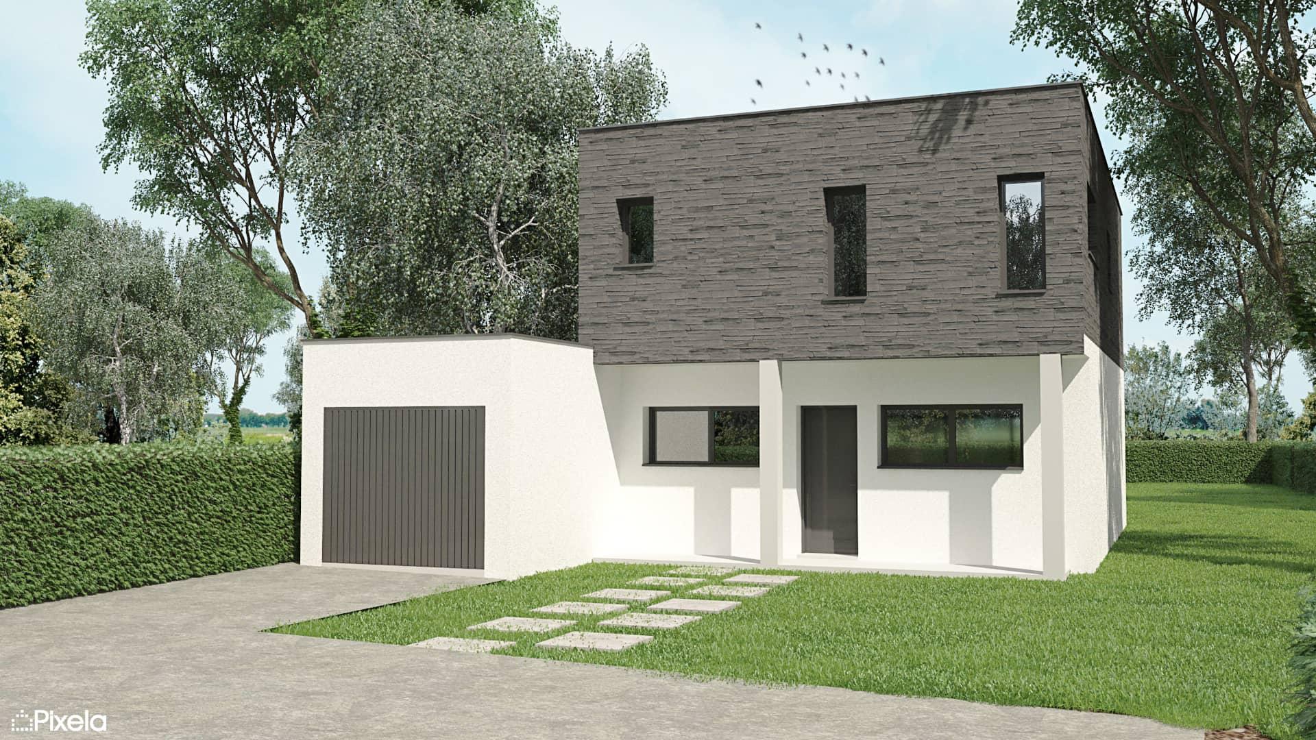 Vue 3D avant - Maison individuelle à Thouaré sur Loire (44)