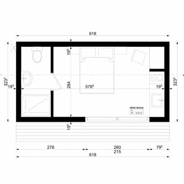 studio de jardin 20m2 plan. Black Bedroom Furniture Sets. Home Design Ideas