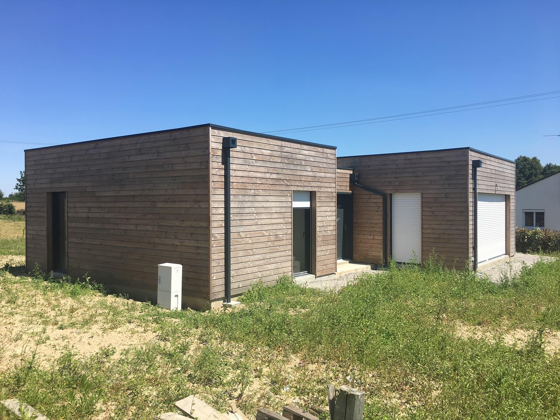 Maison en bois Lege vue facade Sud - Permis de construire pour une maison en bois à Legé, proche Nantes