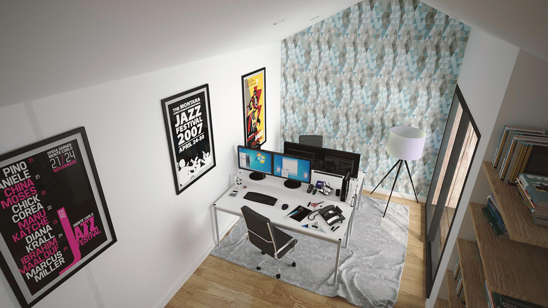 Studio de jardin vue interieure 3D - Plans et vues 3D de studios de jardin en bois