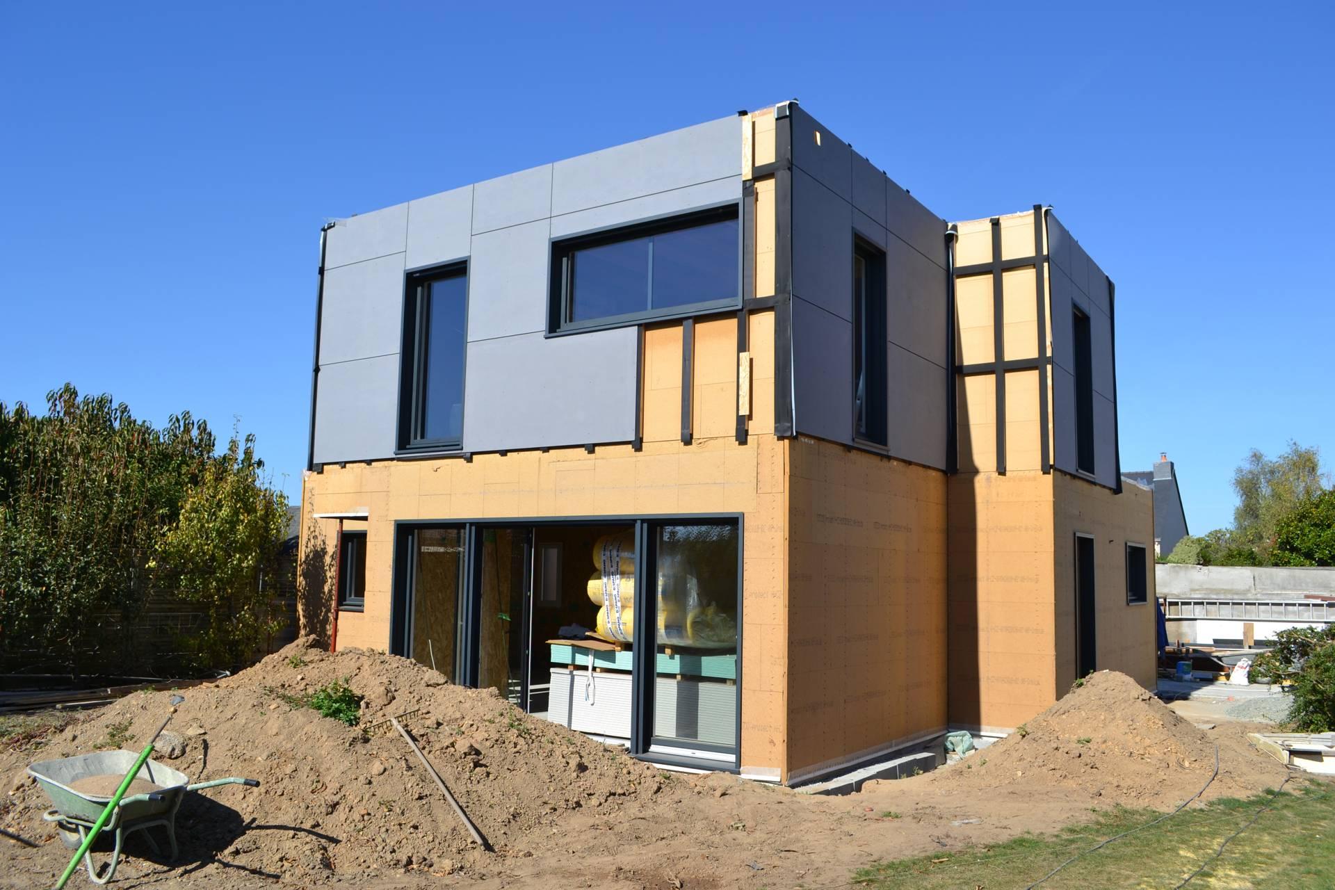 chantier maison bois ecologique - Construction d'une maison en ossature bois Couëron, proche Nantes