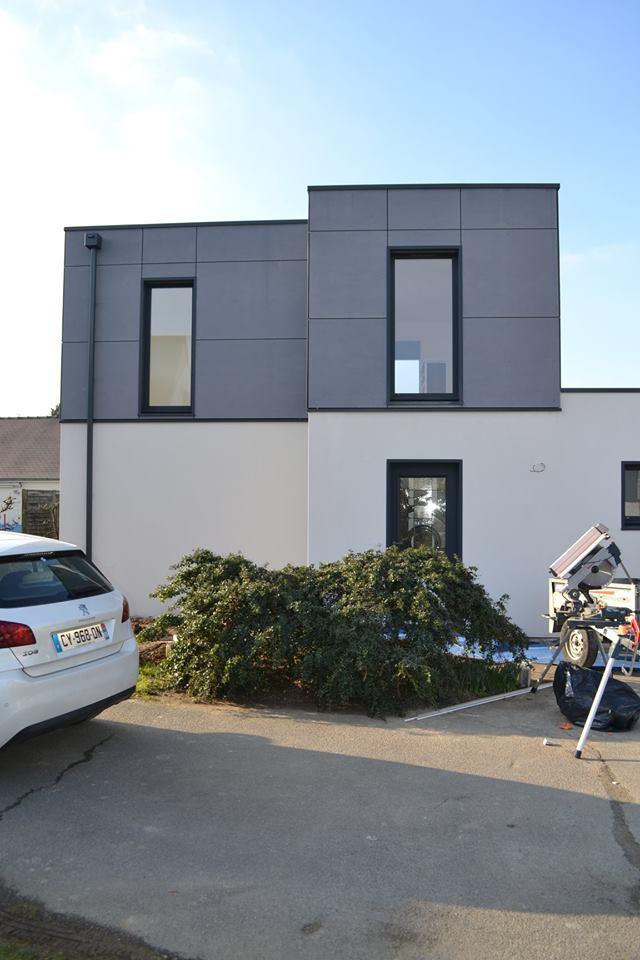 facade maison bois blanche - Construction d'une maison en ossature bois Couëron, proche Nantes