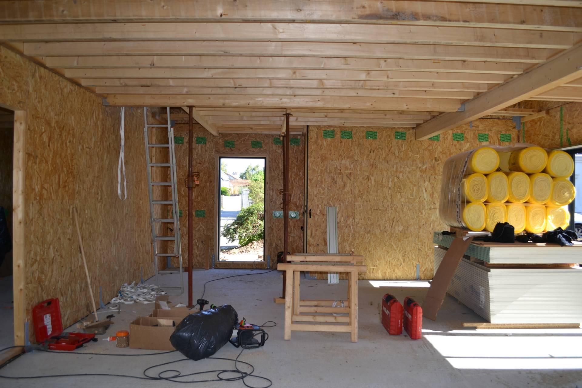 interieur maison bois bioclimatique - Construction d'une maison en ossature bois Couëron, proche Nantes