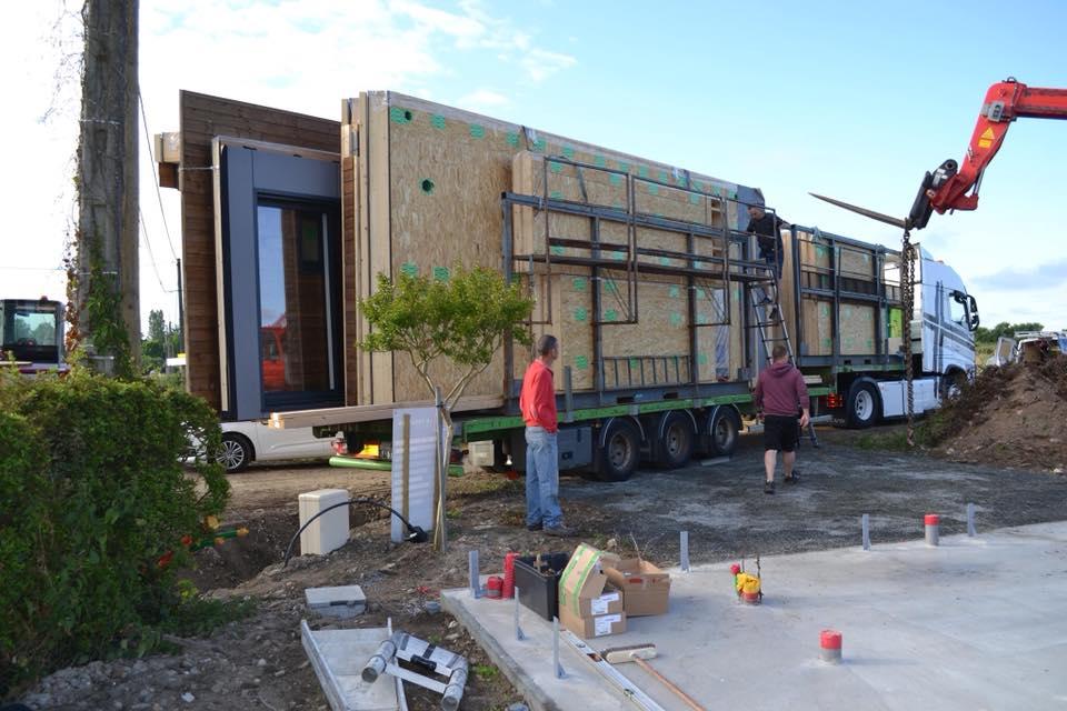 maison ossature bois livraison panneaux avant pose - Construction d'une maison bois de 80m2 à Nantes